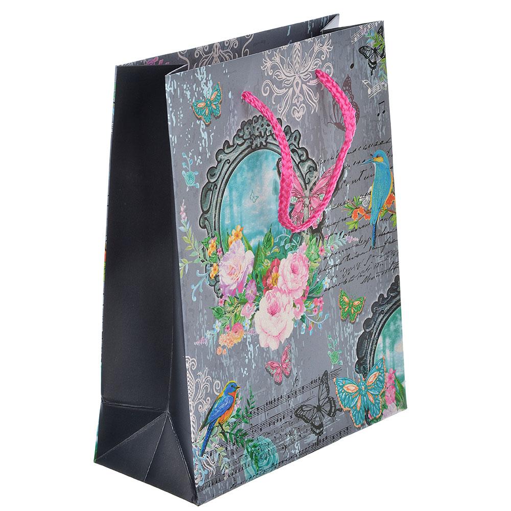 Пакет подарочный, высококачественная бумага с глиттером, 18х23х8 см, 4 цвета, арт 3-4
