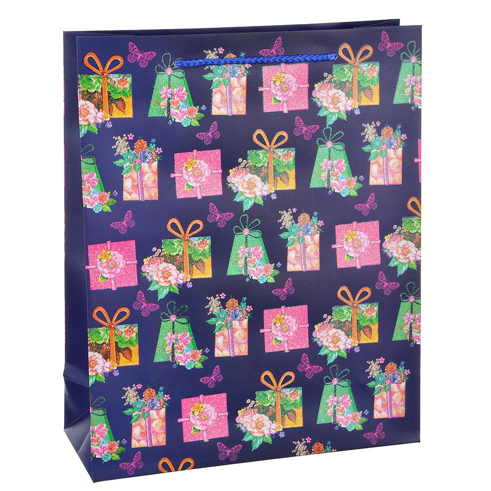 Пакет подарочный, высококачественная бумага с глиттером, 26х32х10 см, 4 цвета, арт 3-8
