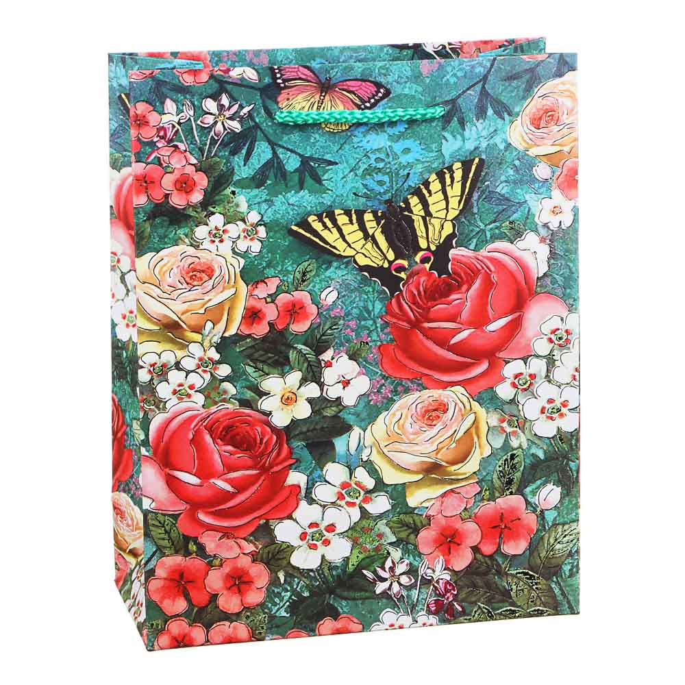 Пакет подарочный, высококачественная бумага с глиттером, 18х23х8 см, 4 цвета, арт 3-9