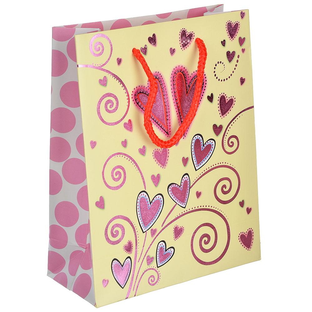 Пакет подарочный, высококачественная бумага с фольгированным нанесением, 18х23х8 см,4 цвета,арт 3-10