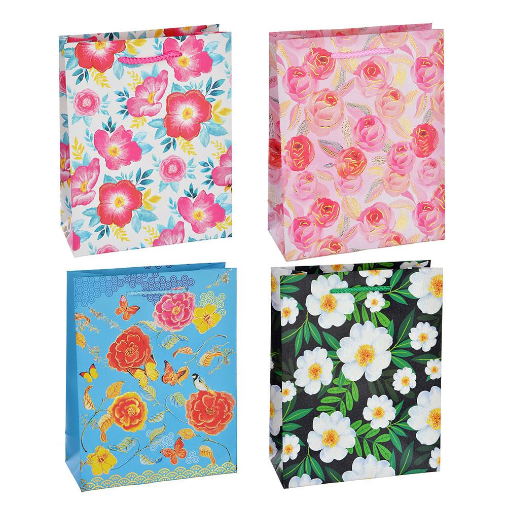 Пакет подарочный, высококачественная бумага с глиттером, 18х23х8 см, 4 цвета, летние цветы