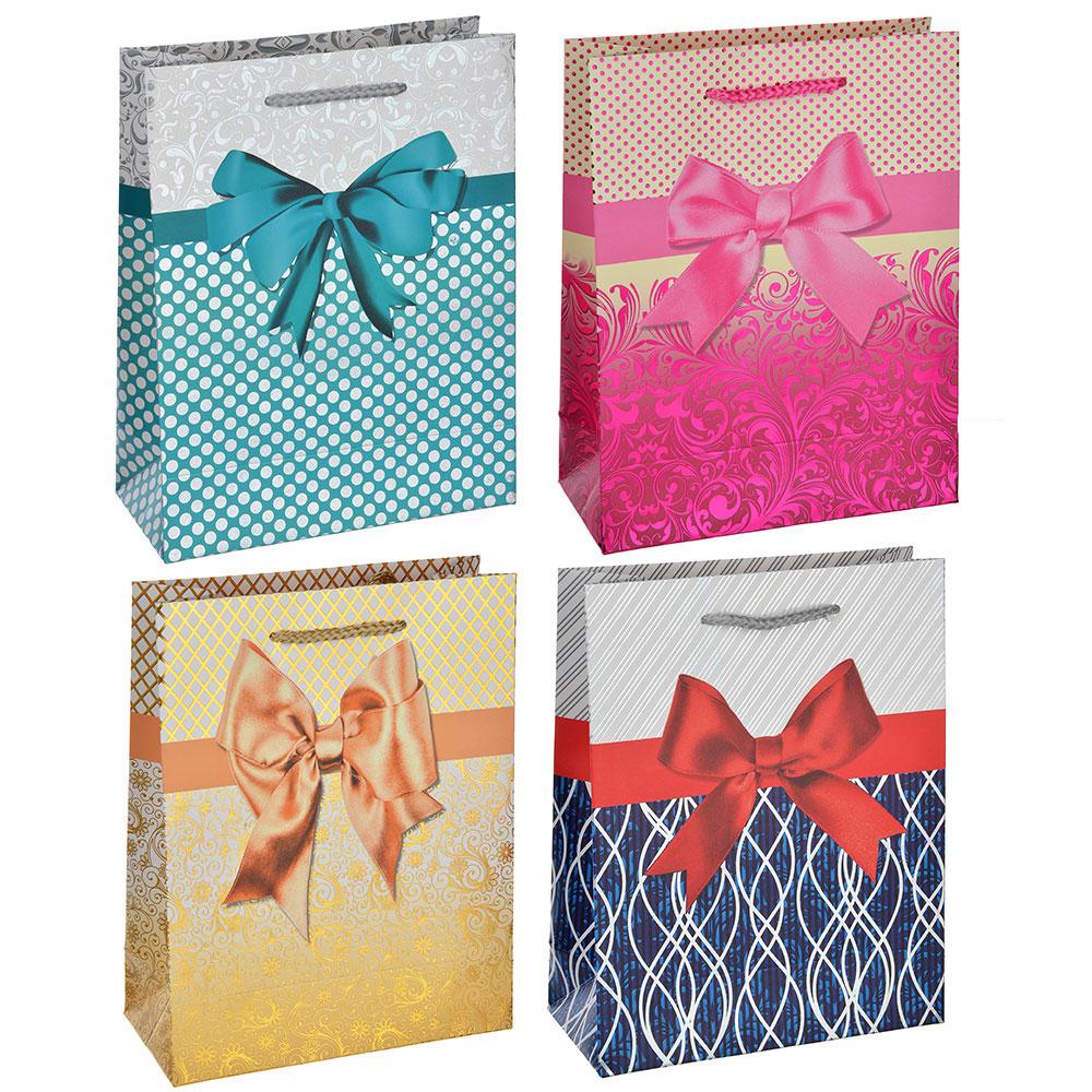 Пакет подарочный, высококачеств. бумага с фольгир.нанесением,18х23х8 см,4 цвета,рисунок с бантиками