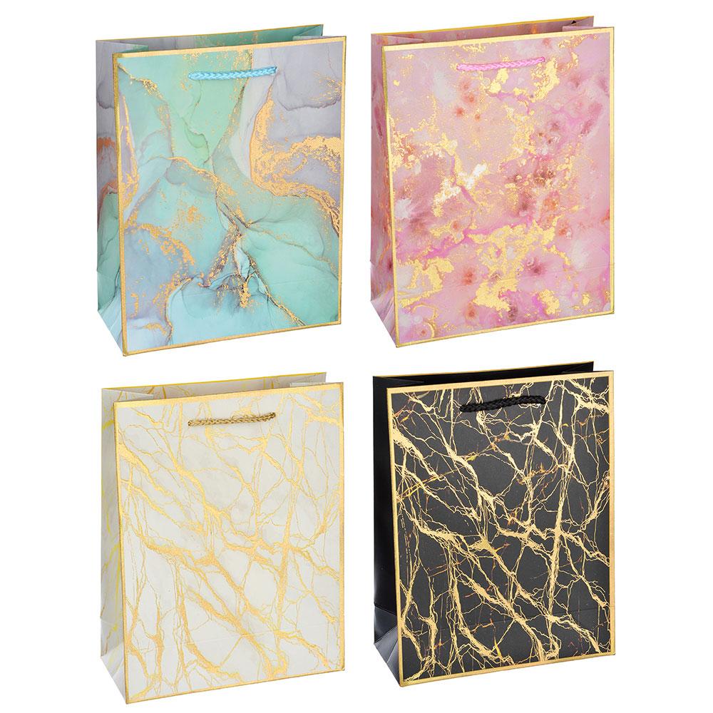 Пакет подарочный, высококачественная бумага с глиттером, 18х23х8 см, 4 цвета, мраморные