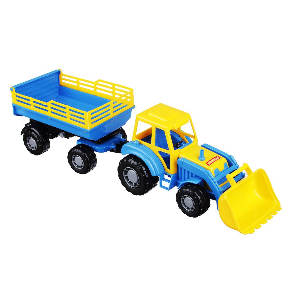 ПОЛЕСЬЕ Трактор с прицепом и ковшом, пластик, 50х13,4х13,5см, 2 дизайна
