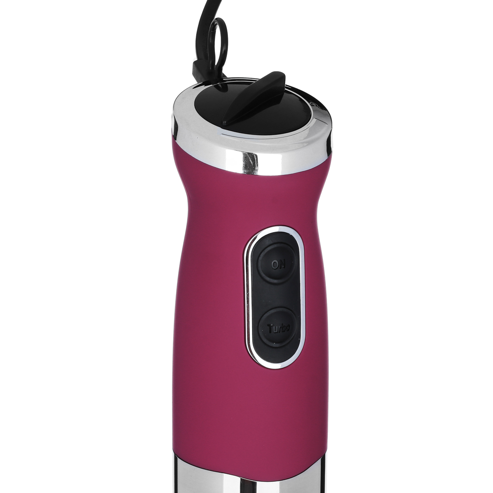 Блендер-комбайн кухонный LEBEN 800Вт, пластик, бордо, софт тач