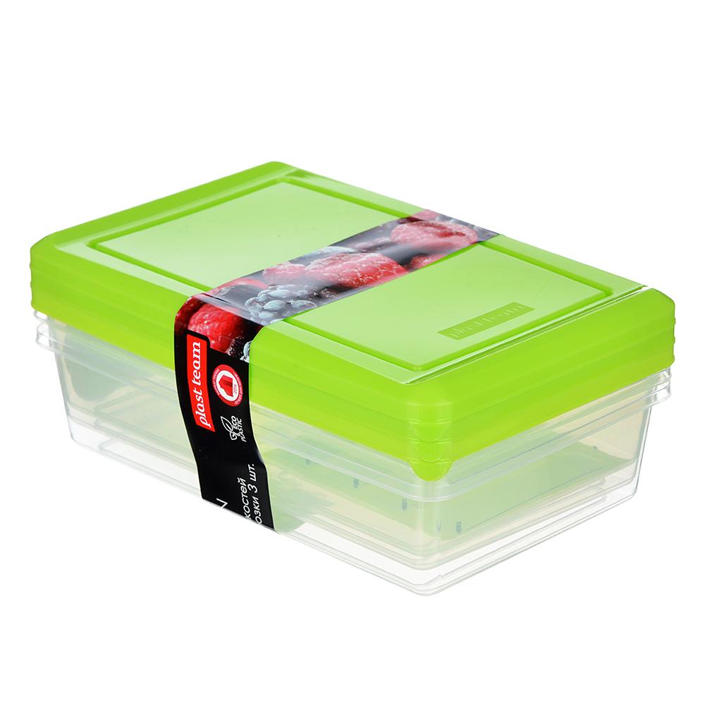 Набор пищевых контейнеров 3 шт, 0,75 л, пластик, желтый, салатовый
