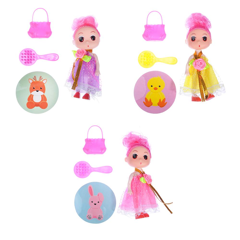 ИГРОЛЕНД Кукла с аксессуарами в чемоданчике, пластик, полиэстер, 14х8,5х5см, 3 дизайна