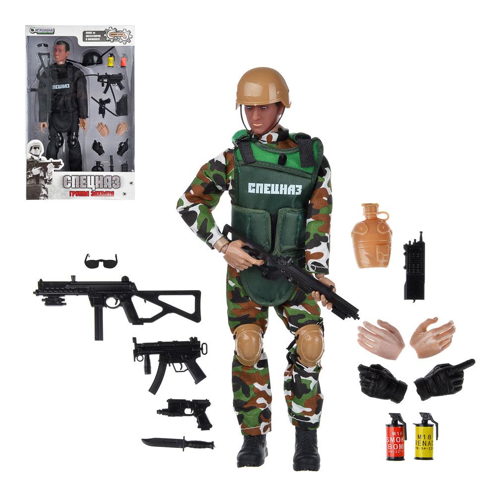 ИГРОЛЕНД Фигурка солдата шарнирная, 30см, с аксессуарами, пластик, 35х21,7х6см, 2 дизайна