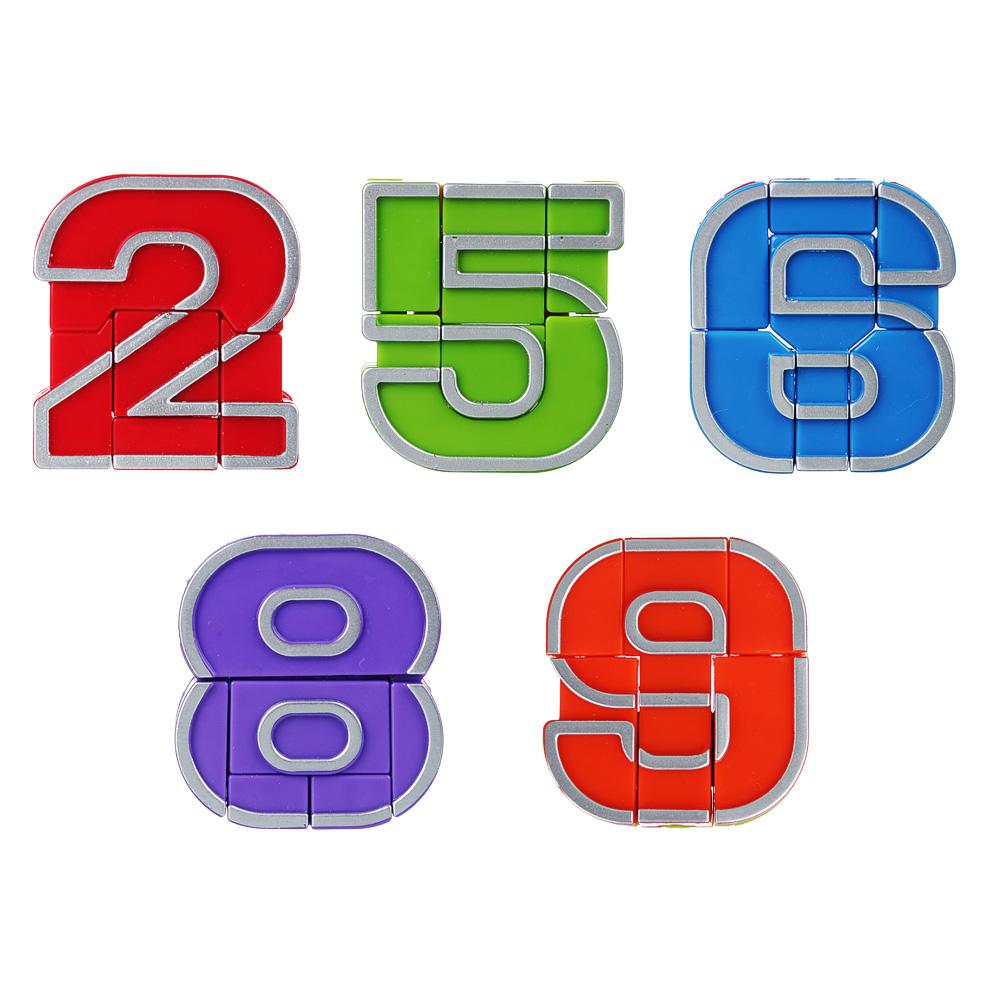 """ИГРОЛЕНД Игрушка, трансформирующаяся в цифру """"ЦИФРОБОТ"""", пластик, 5х5,5х1,7см, 10 дизайнов"""