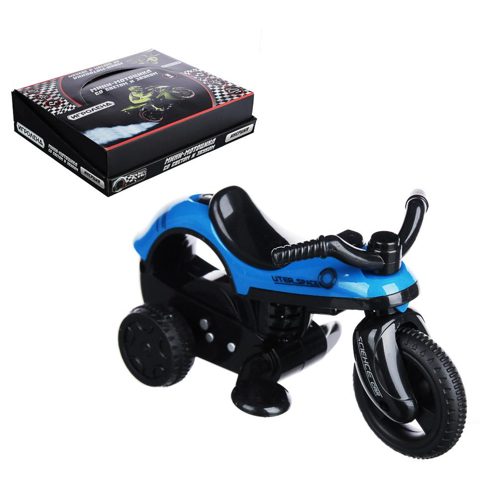 ИГРОЛЕНД Мини-мотоцикл, инерция, свет, звук, пластик, 14х8х6см, 4 дизайна