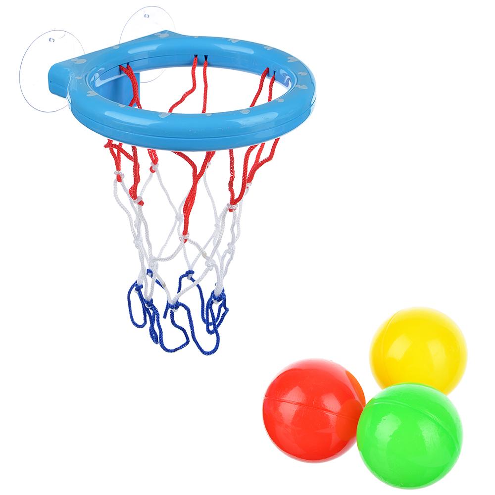 МЕШОК ПОДАРКОВ Корзина баскетб. д/ванной на присосках с тремя мячиками,пластик,27х16,4х7см,4 цвета