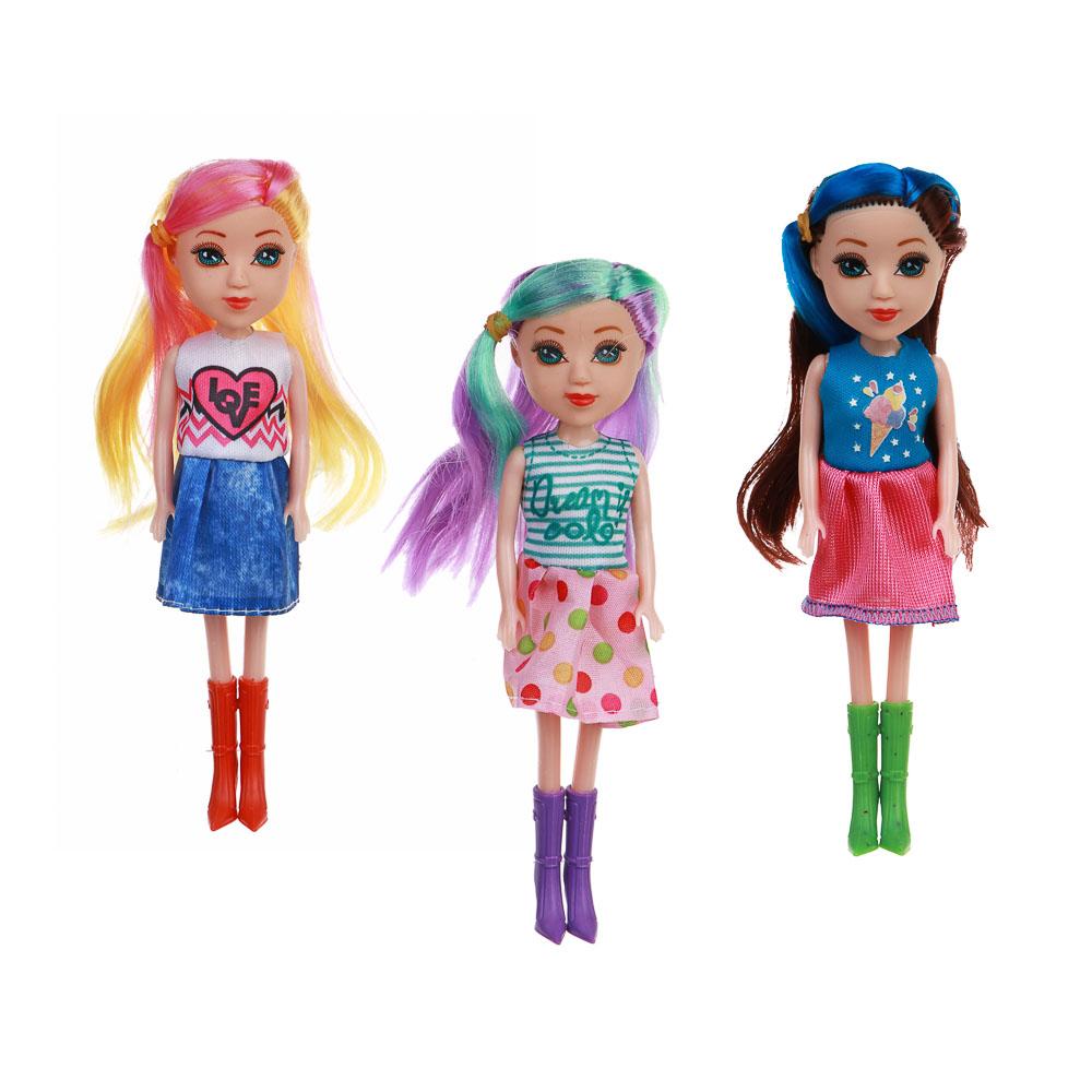 ИГРОЛЕНД Кукла с цветными волосами, 15 см, пластик, полиэстер, 6х17,5х5см, 6 дизайнов