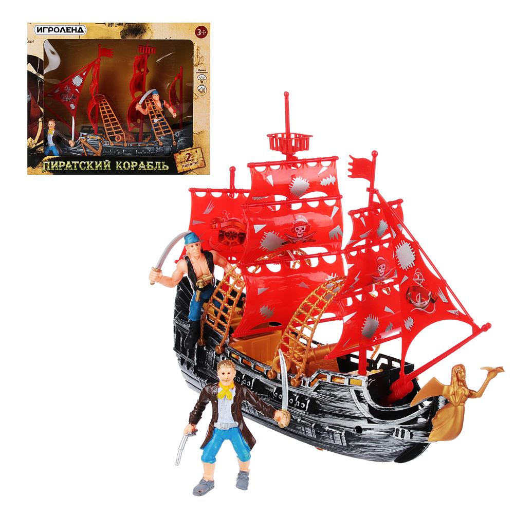 """ИГРОЛЕНД Набор игровой """"Пираты на корабле"""", 3пр, пластик, 27,5х23х9см"""