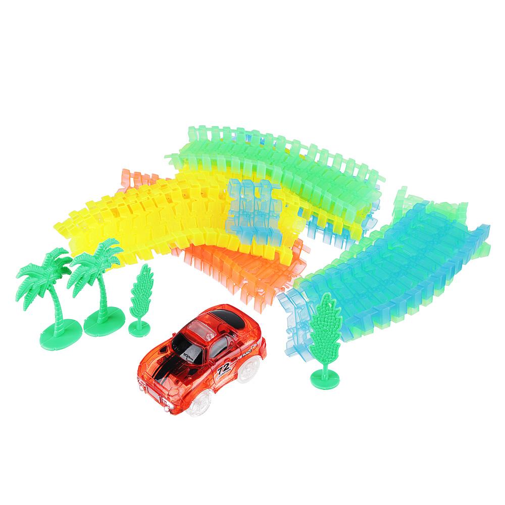 ИГРОЛЕНД Трек с машинкой гибкий, 168 дет., пластик, 2АА, 26х25х8,5см