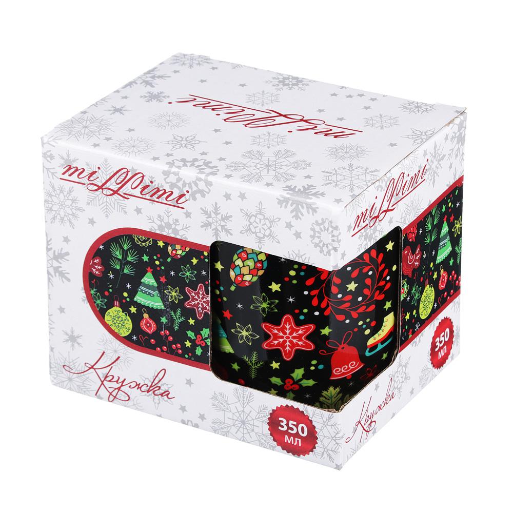 Кружка MILLIMI Праздничная 350 мл, керамика, 4 дизайна, подарочная упаковка