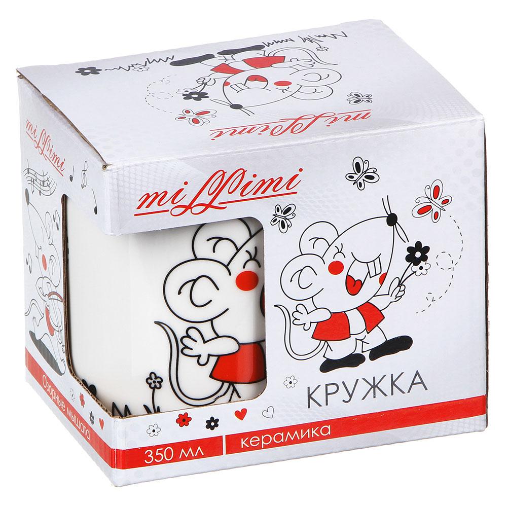 Кружка MILLIMI Озорные мышата 350 мл, керамика, 4 дизайна, подарочная упаковка