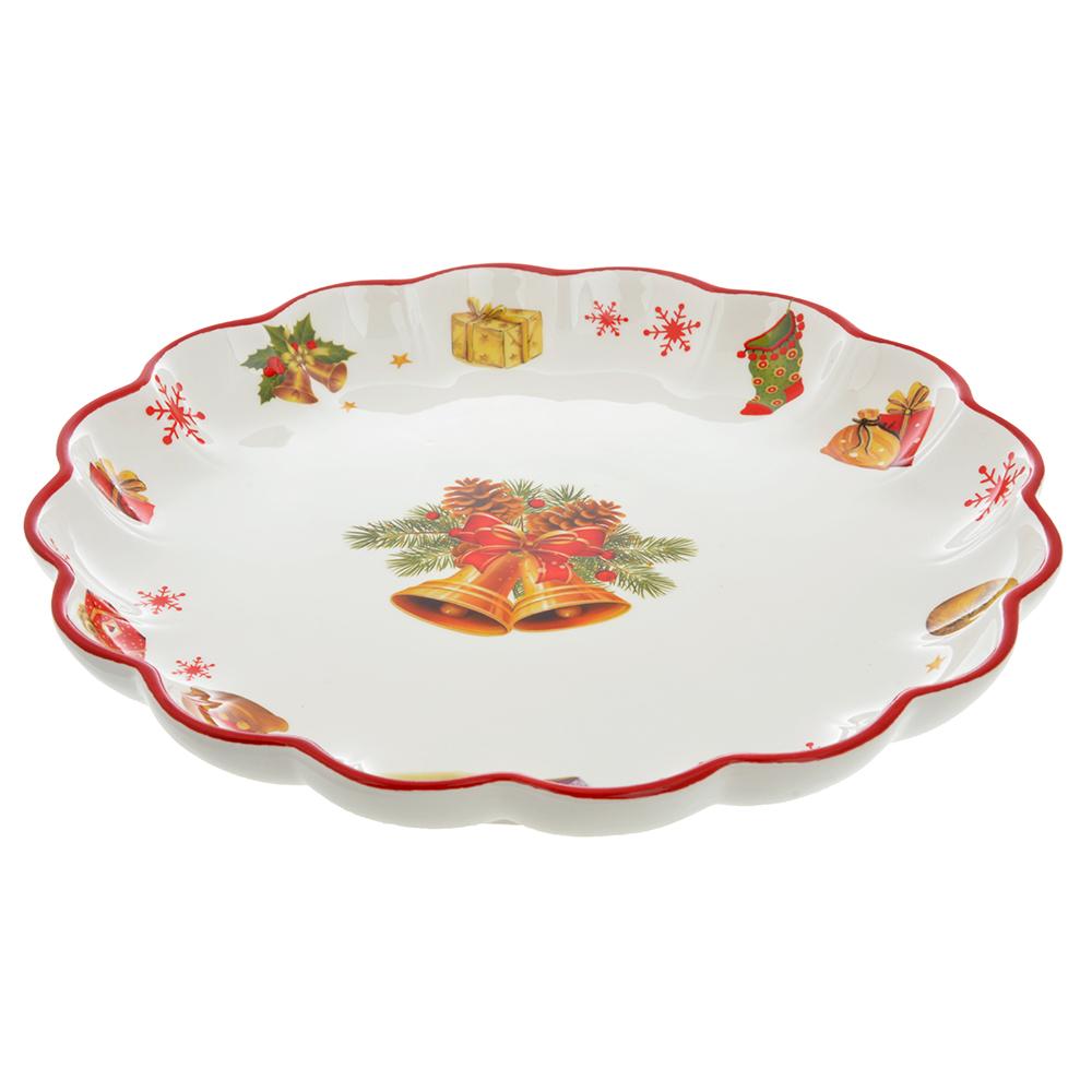MILLIMI Новогодняя Блюдо круглое с волнистым краем 30,5х3,5см, керамика