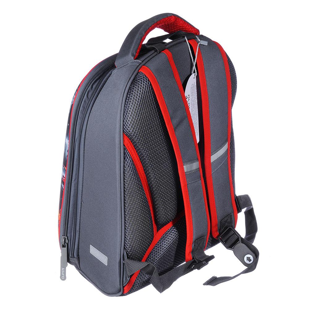 Рюкзак школьный Суперкар 38x30x20см, 2 отделения, 2 кармана, эргономичная спинка