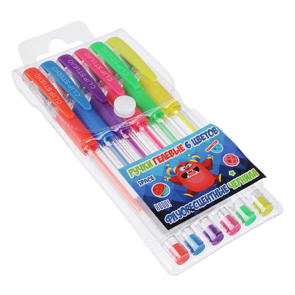 Монстрики Набор ручек гелевых 6 цветов флуоресцентных, 0,7мм, в ПВХ пенале с подвесом