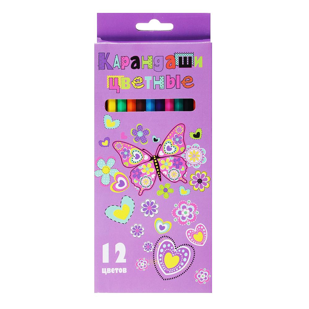 Джуниор Стикерс Карандаши, 12 цветов шестигранные заточенные, пластик, в карт.коробке с подвесом