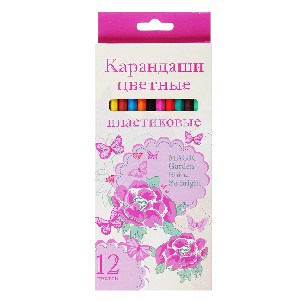 Джуниор Гарден Карандаши, 12 цветов, шестигранные заточенные, пластик, в карт.коробке с подвесом