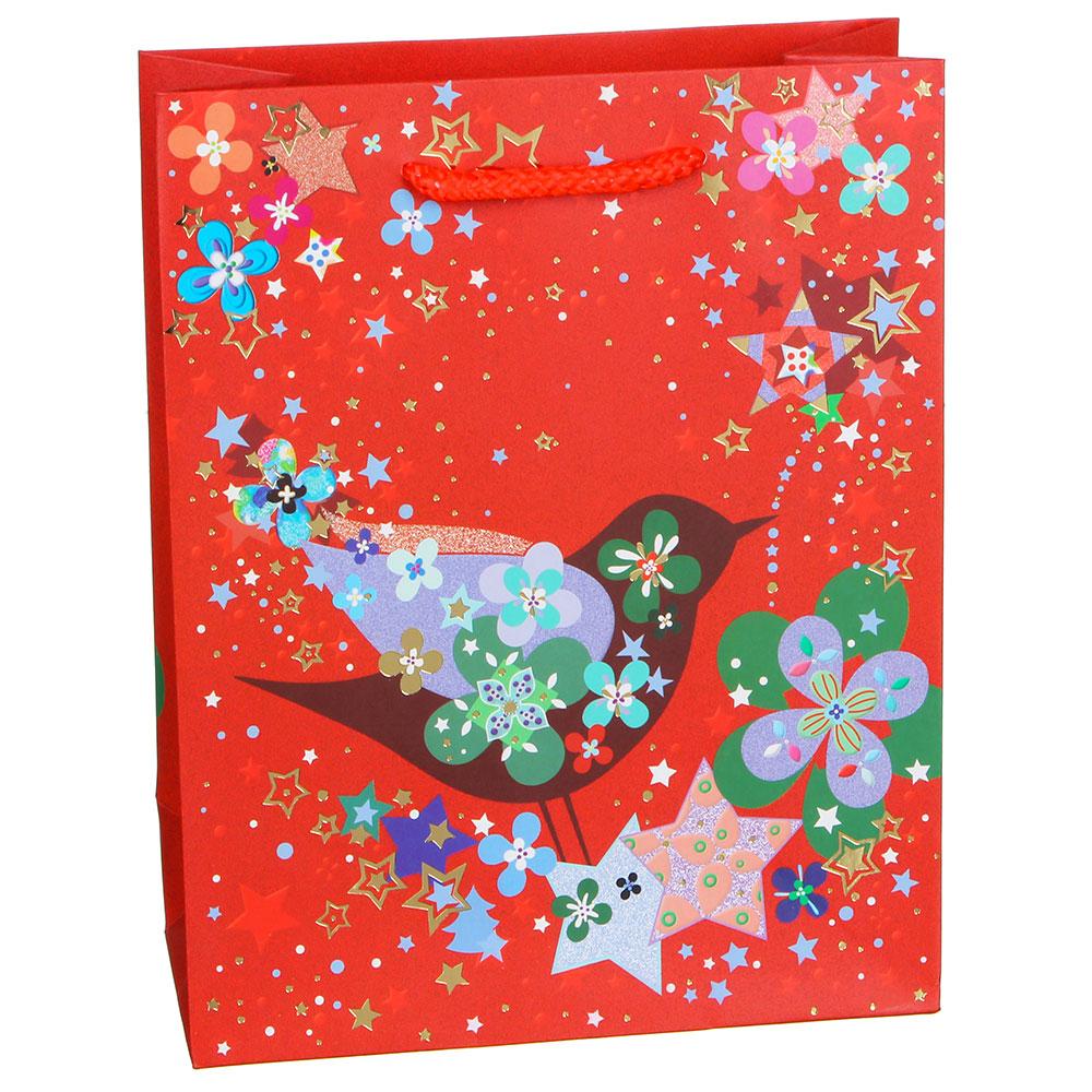 Пакет подарочный СНОУ БУМ  23х18х8 см, бумага высокого качества с блеском, 4 дизайна, арт 19