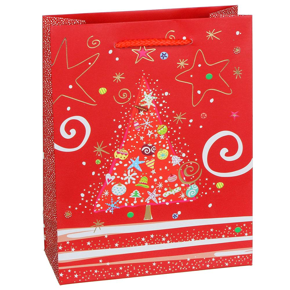 Пакет подарочный СНОУ БУМ  23х18х8 см, бумага высокого качества с блеском, 4 дизайна, арт 21