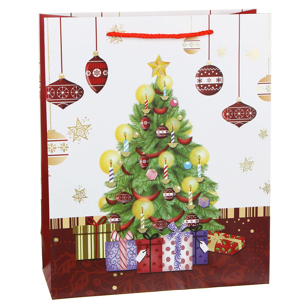 Пакет подарочный СНОУ БУМ 26х32х10 см, бумага высокого качества с блеском, 4 дизайна, арт 24
