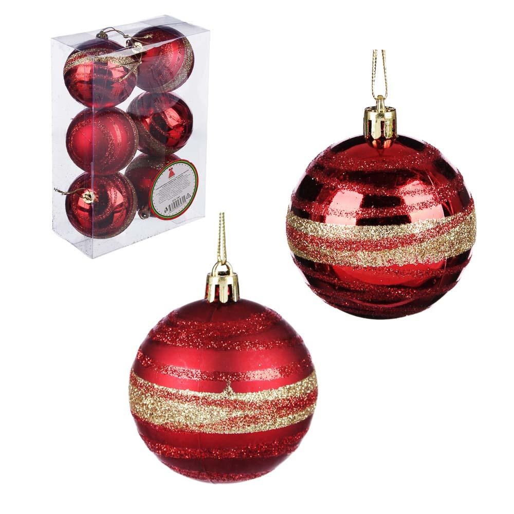 Елочные шары набор СНОУ БУМ 6 шт, 6 см, пластик, красный и золото, коробка ПВХ, 2 дизайна