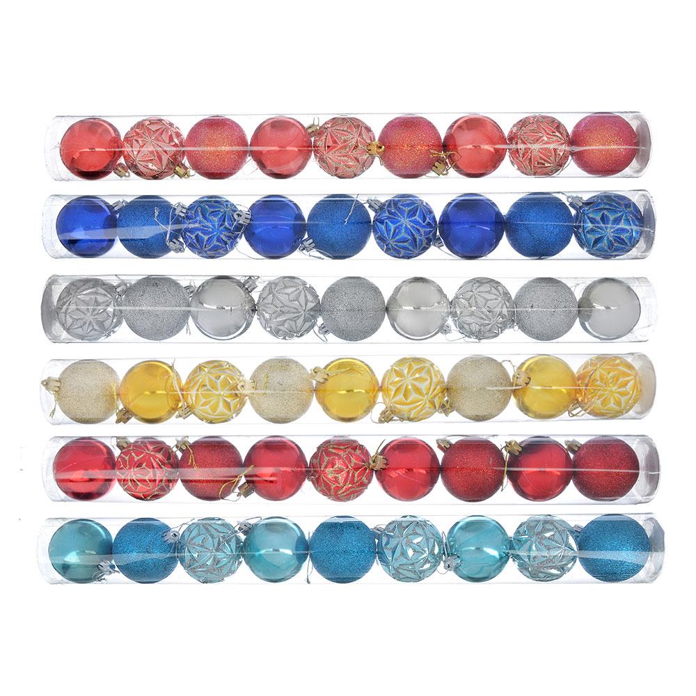 Елочные шары набор СНОУ БУМ 9 шт, 6 см, 6 дизайнов, туба ПВХ