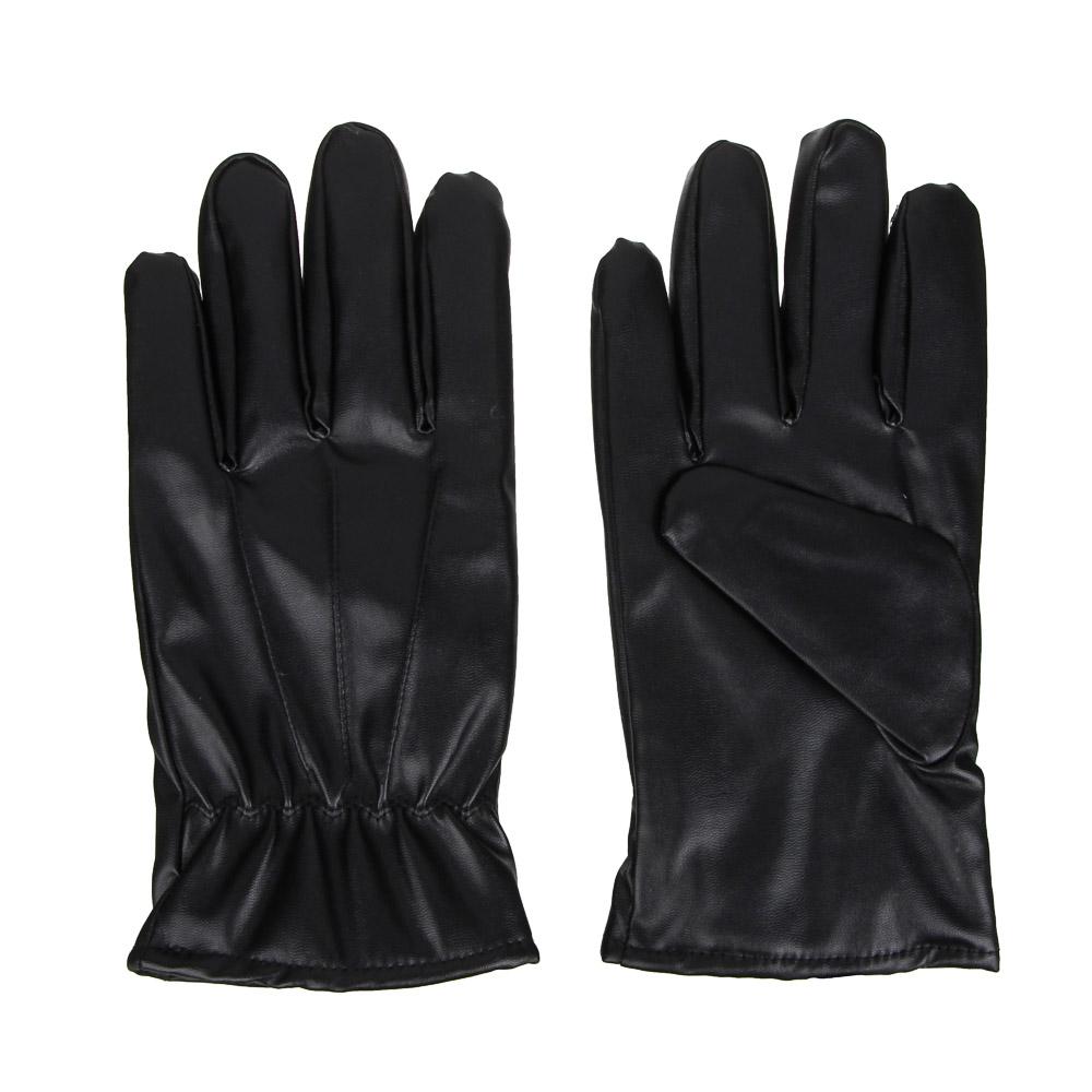 Перчатки мужские, размер универсальныйй, ПУ, цвет черный