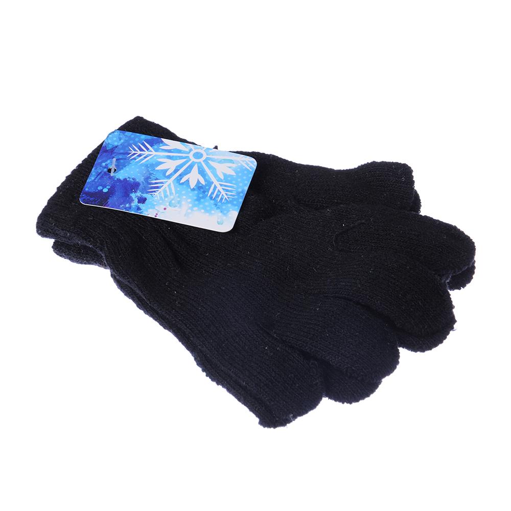 Перчатки молодежные, размер универсальный, 100% акрил, цвет черный