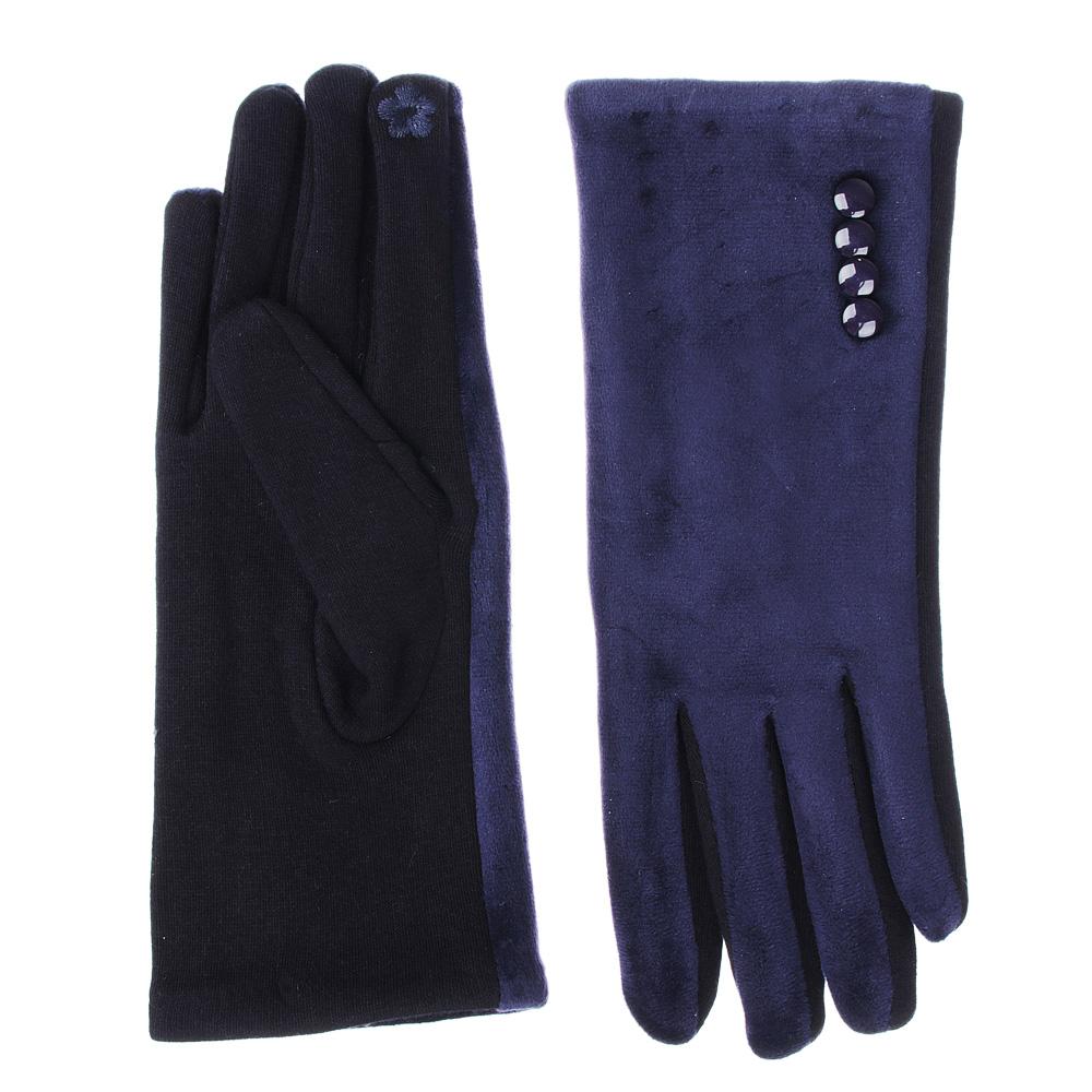 Перчатки женские контактные, размер универсальный, 30% хлопок, 70% полиэстер, 3 цвета, ПВ19-41
