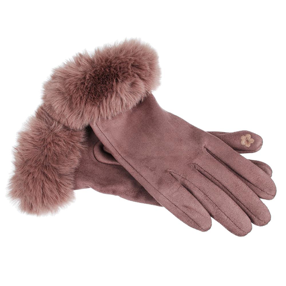 Перчатки женские контактные, размер универсальный, искусственный мех, полиэстер, 3 цвета