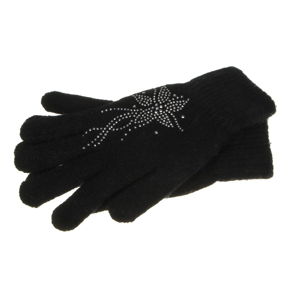 Перчатки женские с декором, 20% шерсть, 80% акрил, размер универсальный, 4 цвета