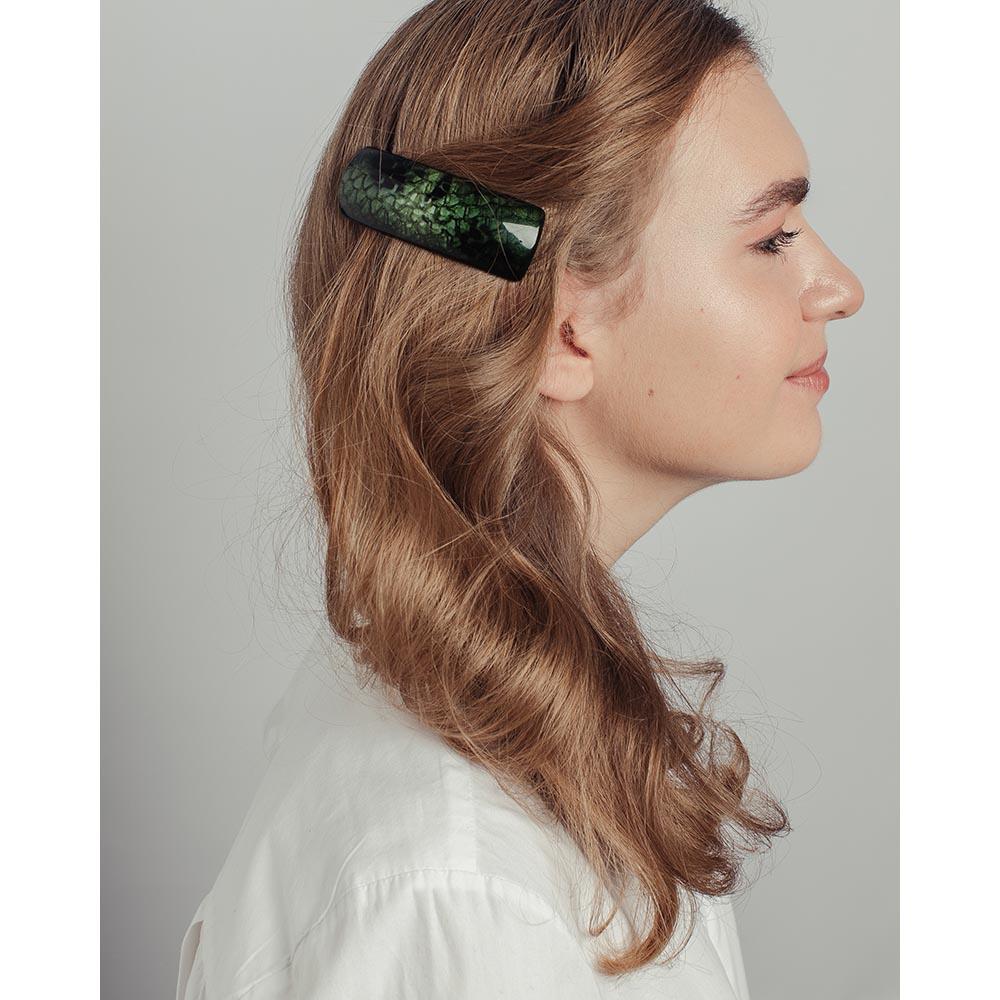 Заколка-автомат для волос, 9см, металл, пластик, 3 дизайна