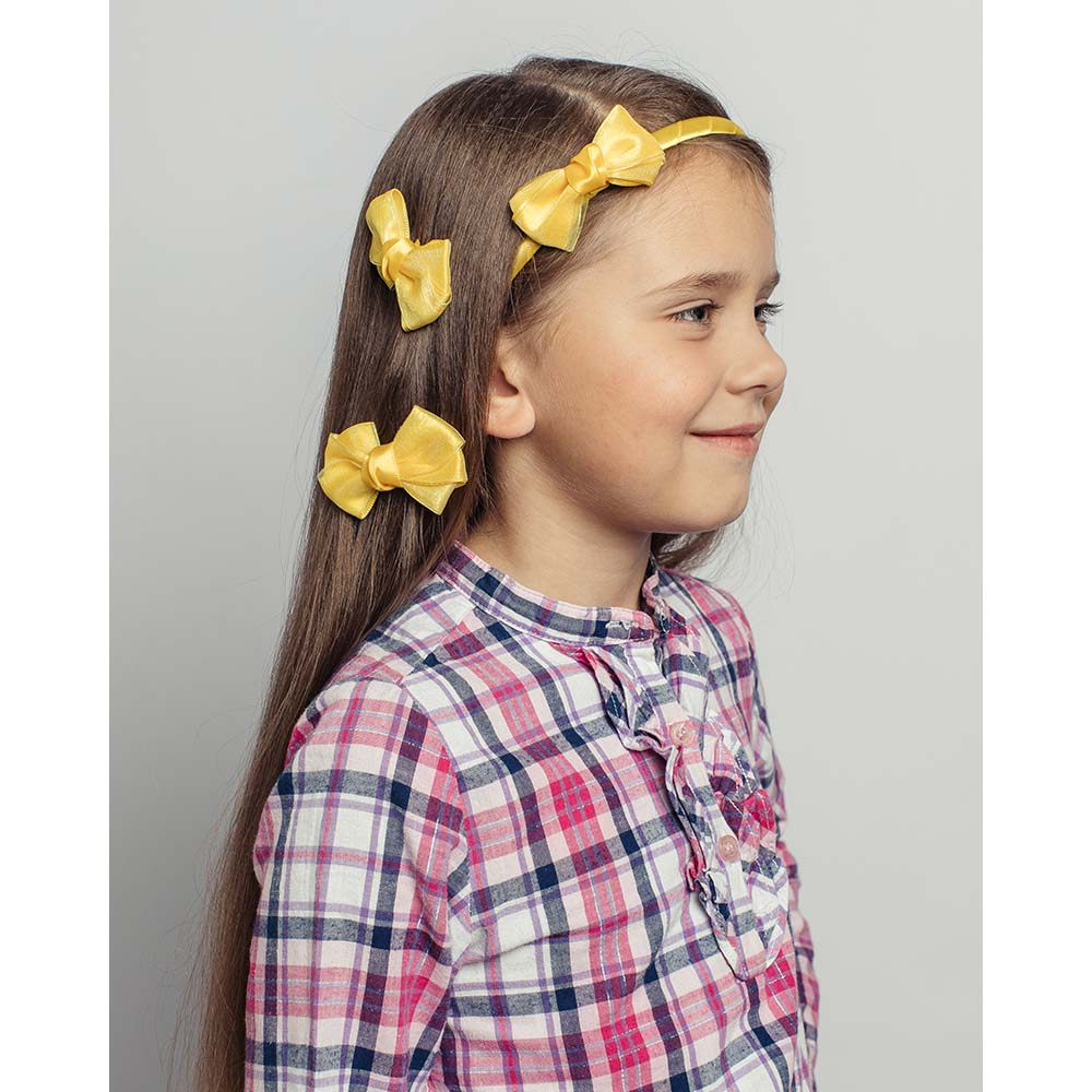 Набор аксессуаров для волос 3пр: ободок 1см, заколка-зажим 2шт 7см, полиэстер, сплав, 6 цветов