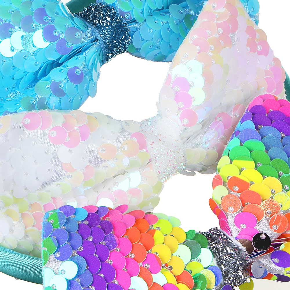 Ободок детский с декором, полиэстер, пластик, ширина 1см, 3 цвета, ОД19-1
