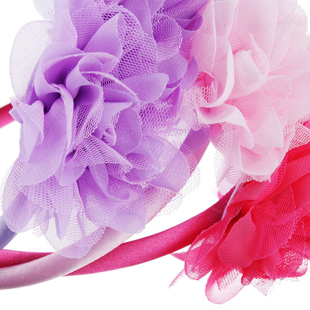 Ободок детский с декором, полиэстер, пластик, ширина 1см, 3 цвета, ОД19-2