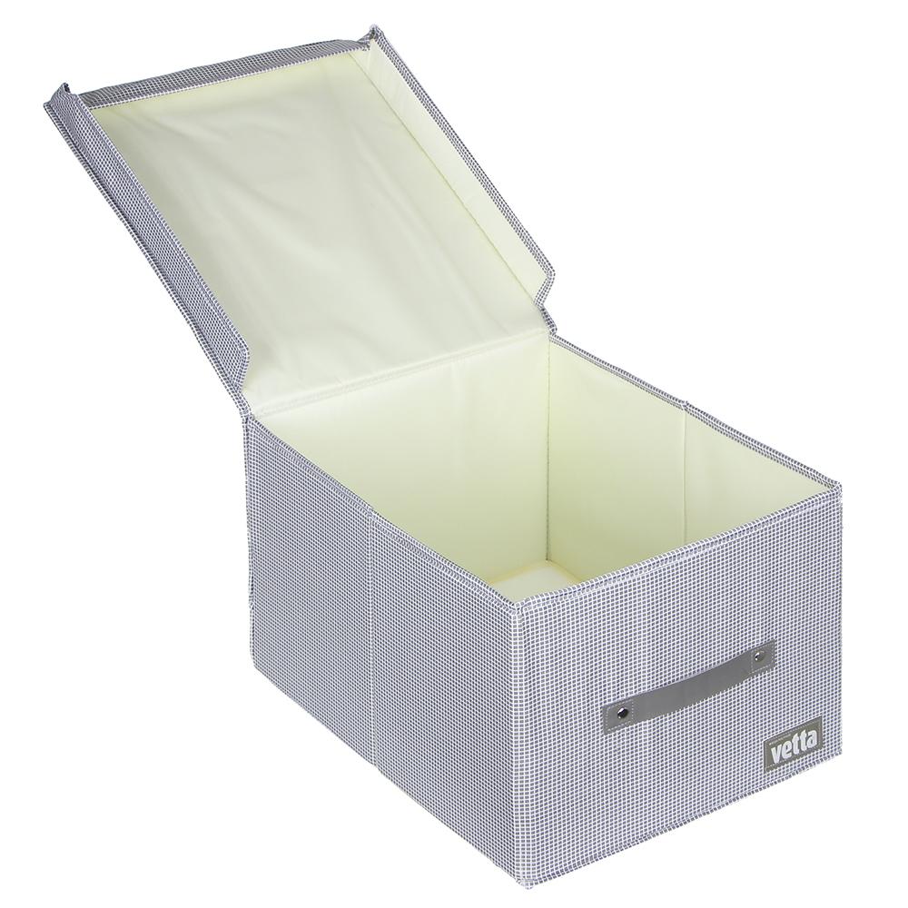 "VETTA Короб для хранения с крышкой ""Клетка"", полиэстер, 30х40х24, 2 цвета"