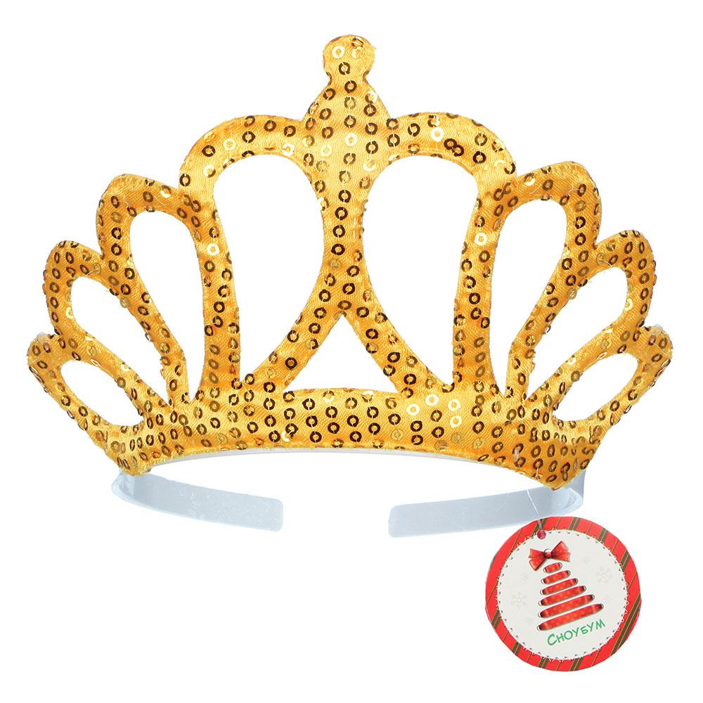 Диадема карнавальная СНОУ БУМ 16х13,5 см пластик, с пайетками, пластик, полиэстер, 5 цветов