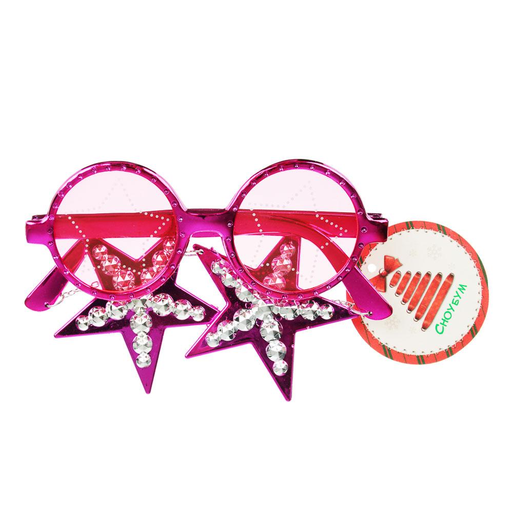 Очки карнавальные СНОУ БУМ 13,5х5 см, пластик, 4 цвета