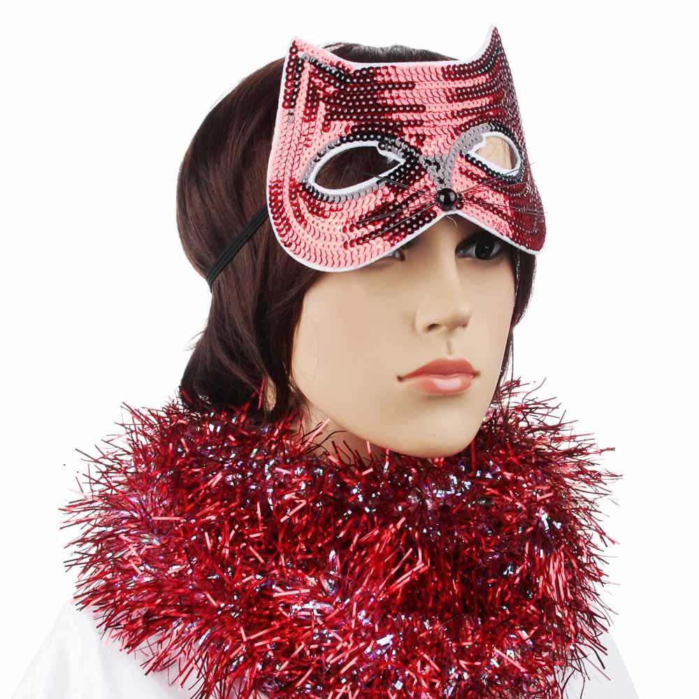 Маска карнавальная СНОУ БУМ с пайетками, 18х12,5 см, полиэстер, 6 цветов