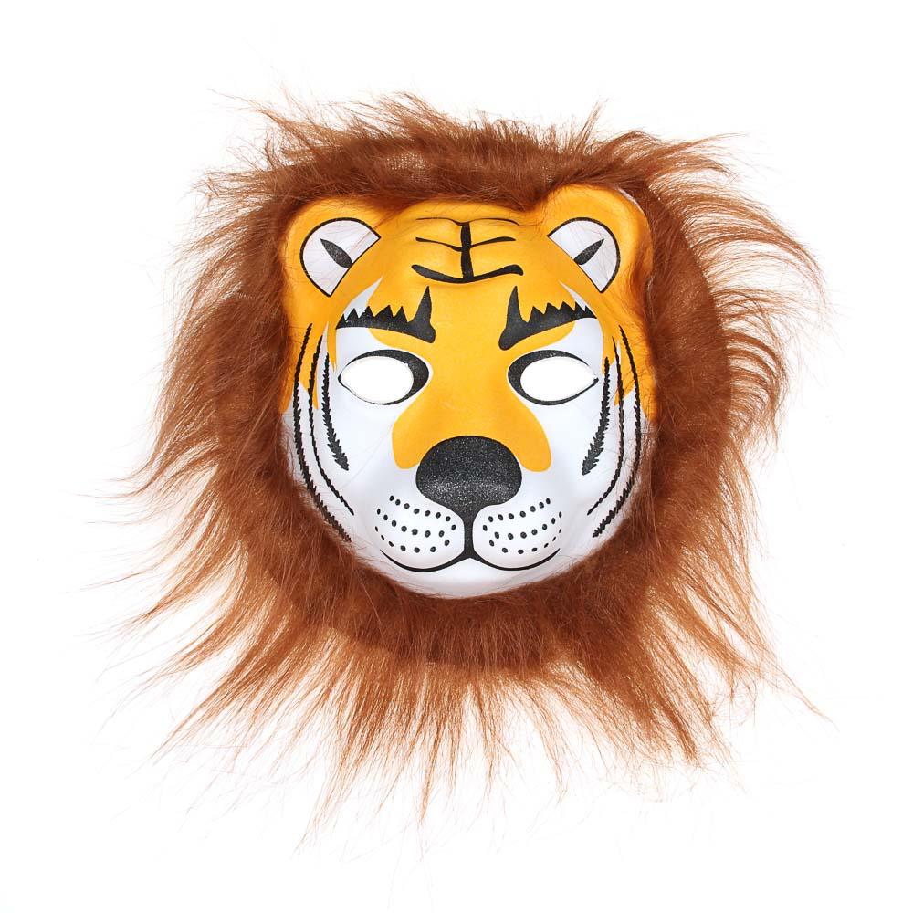 Маска карнавальная СНОУ БУМ лица животных, ПЕВА, 5 видов 17-19 см