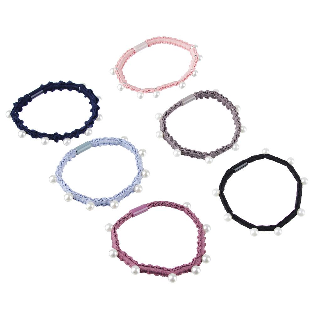 Резинка для волос, d=5см, полиэстер, пластик, 4-6 цветов
