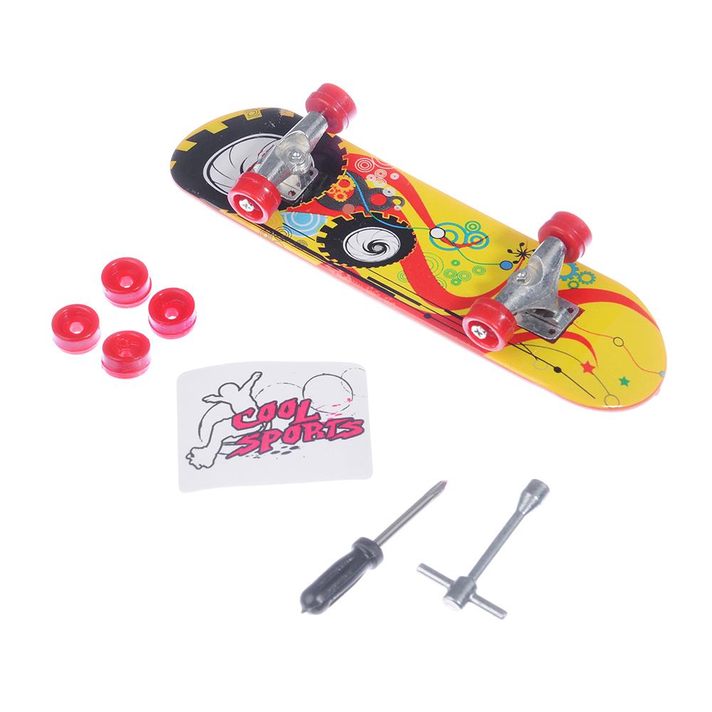 ИГРОЛЕНД скейтборд миниатюрный со сменными колесами,10 дизайнов,PS,металл,19х14,7х3см