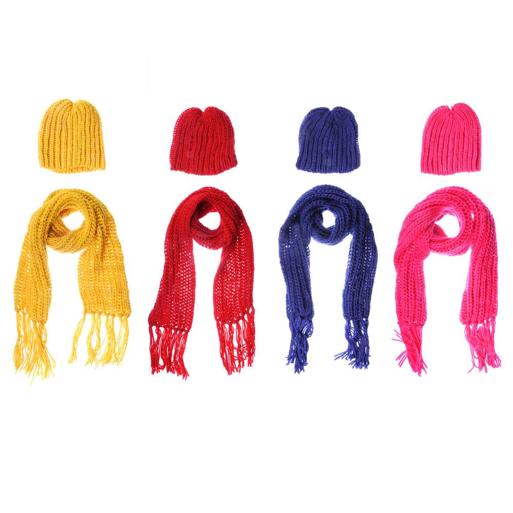Набор 2 пр: шапка 20х21см, шарф 150х17см, 100% акрил, 4 цвета, ШЗ2018-17