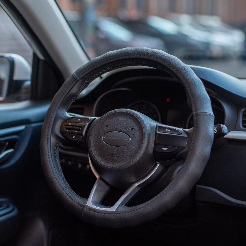 NEW GALAXY Оплетка руля, натуральная кожа, цвет черный, размер M