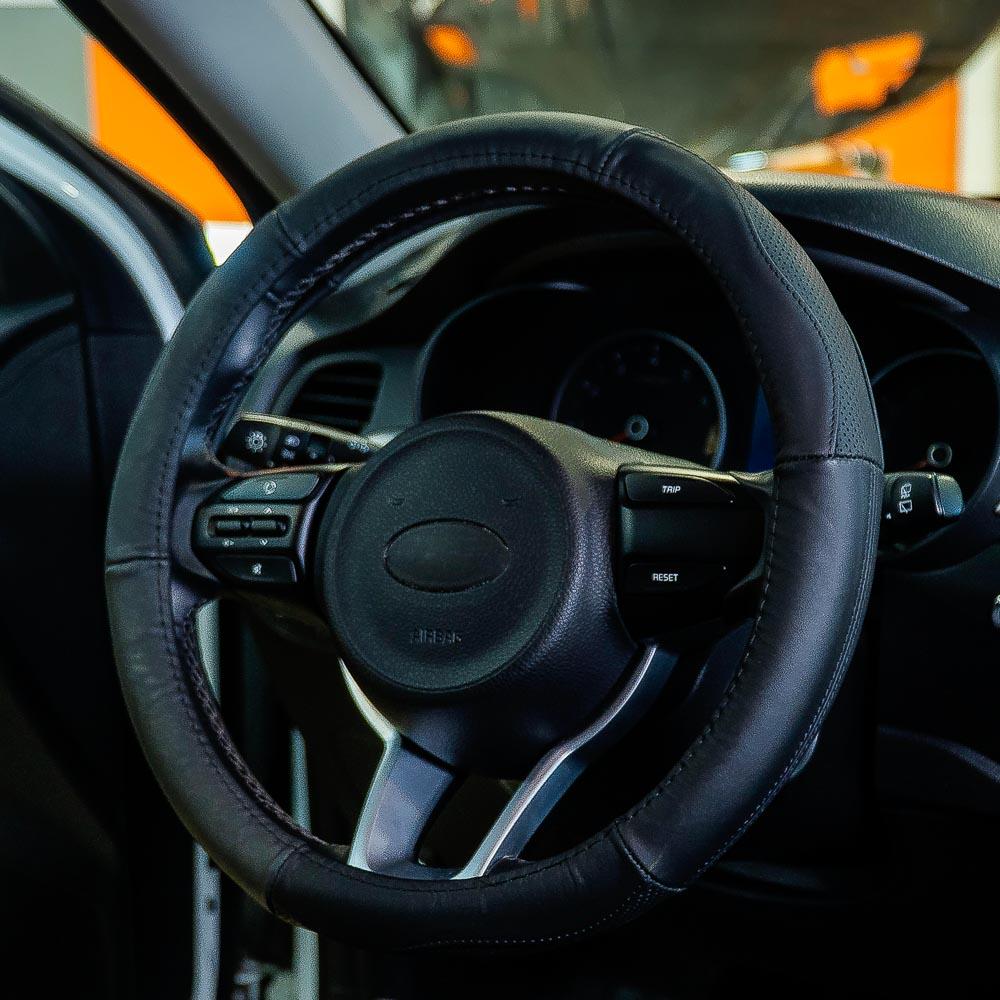 NEW GALAXY Оплетка руля, натуральная кожа + перфорированные вставки, цвет черный, размер M