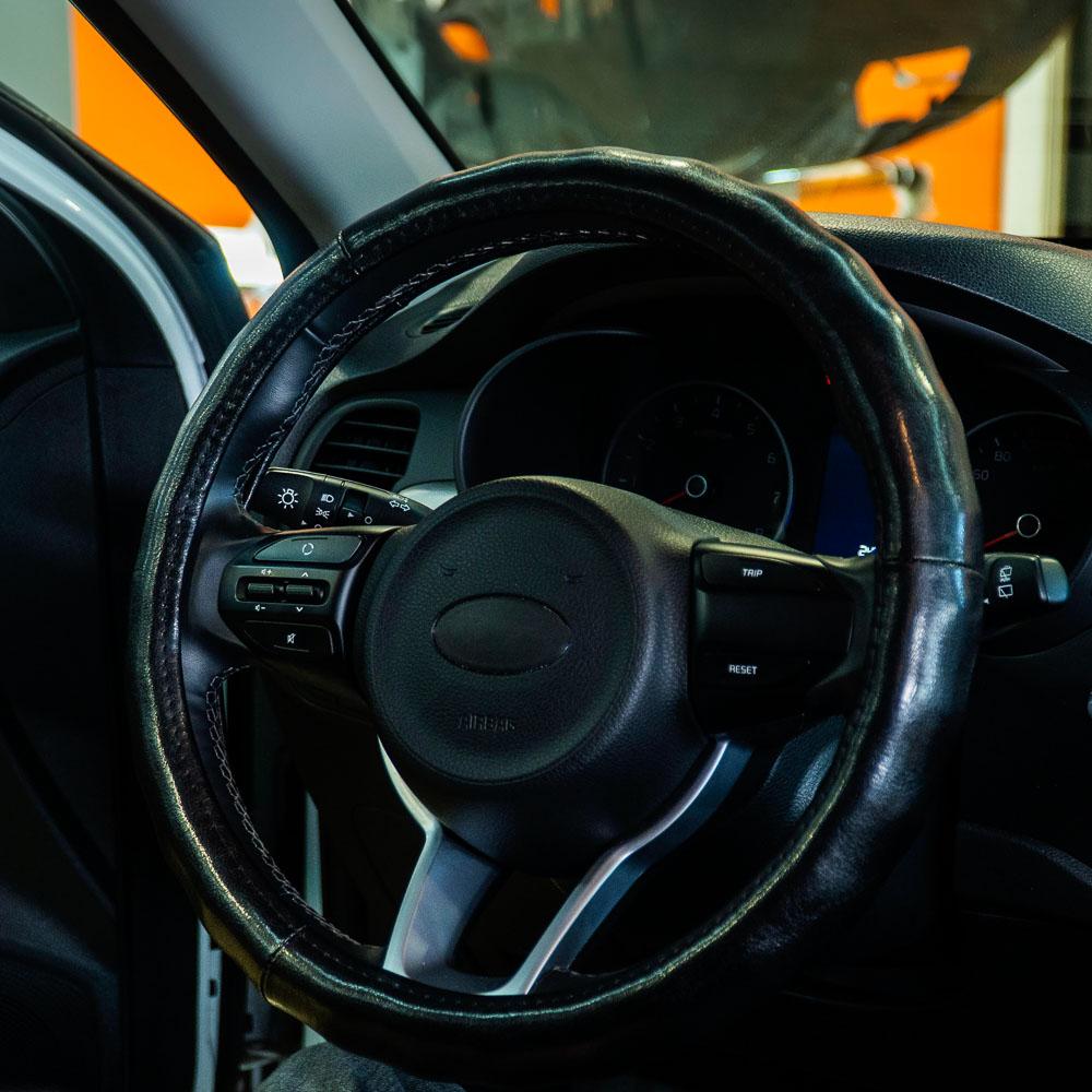 NEW GALAXY Оплетка руля, натуральная кожа глянец, цвет черный, размер M